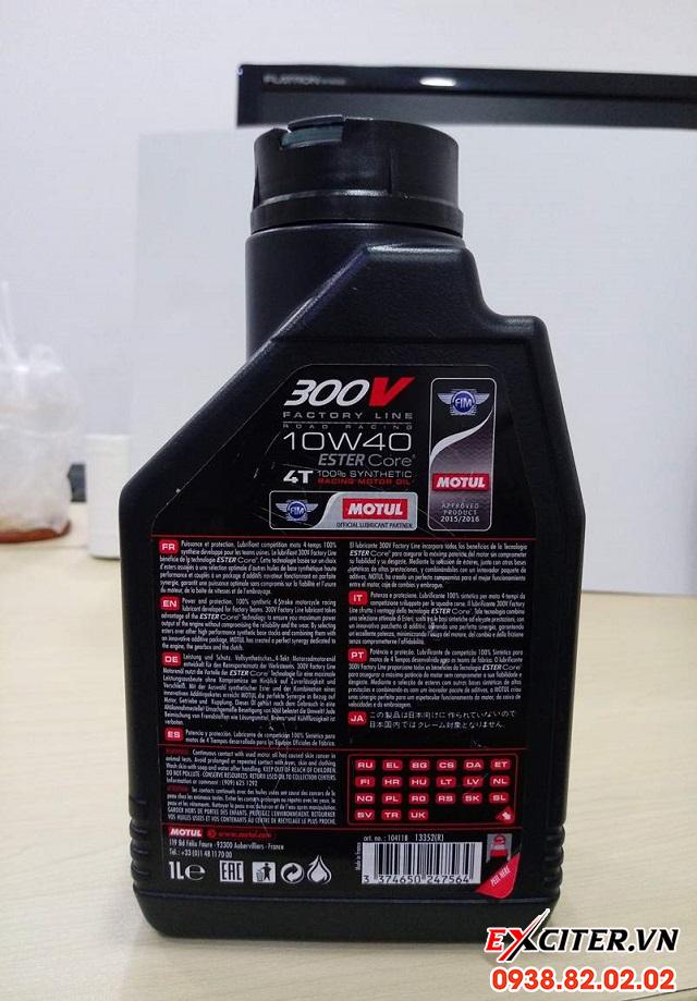 Nhớt motul 300v 10w40 1l nhập khẩu pháp cho exciter 150  - 1