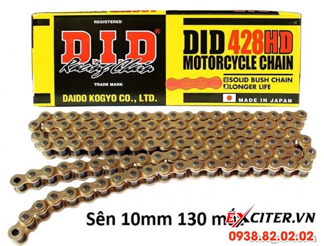 Sên did vàng 428hd chính hãng 122 mắt 10 mm cho exciter 150 - 1